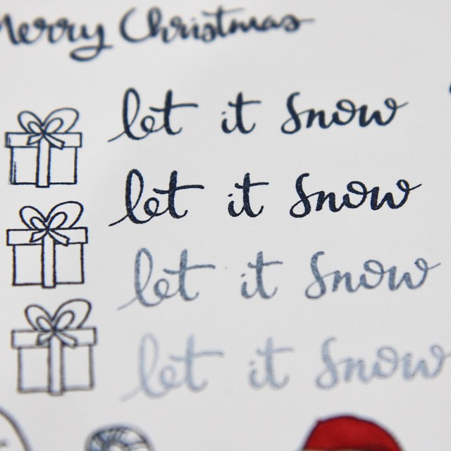 StickerKitten Penguins and Presents Christmas stamps - Let it Snow calligraphy sentiment stamp