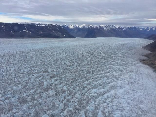 Glaciar Qorqup a vista de helicóptero (Sur de Groenlandia)
