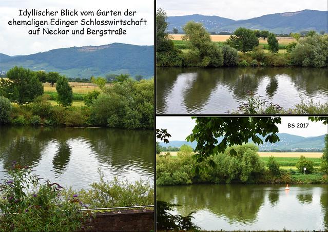 Edingen-Neckarhausen, Garten der ehemaligen Schlosswirtschaft, Blick auf Neckar und Bergstraße, Nähe Barock-Schlössel Edingen, Foto: Brigitte Stolle