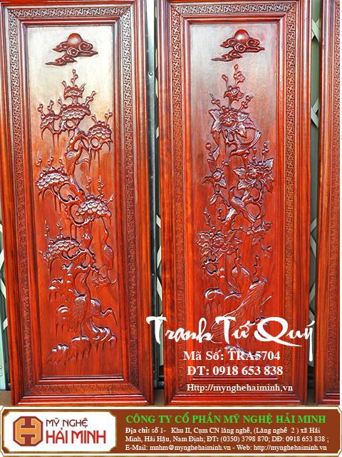 TRA5704g Tranh Tu Quy Mai Truc Cuc Tung  do go mynghehaiminh