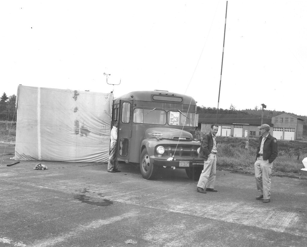 Project headquarters - Oregon Department of Forestry bus. Unidentified defoliator spray