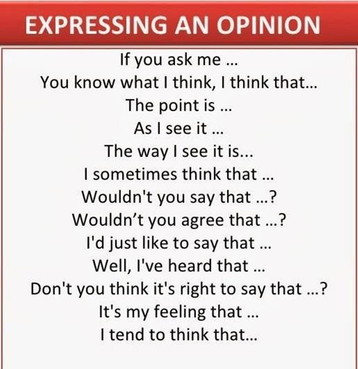Useful Expressions to Express your Opinions 3