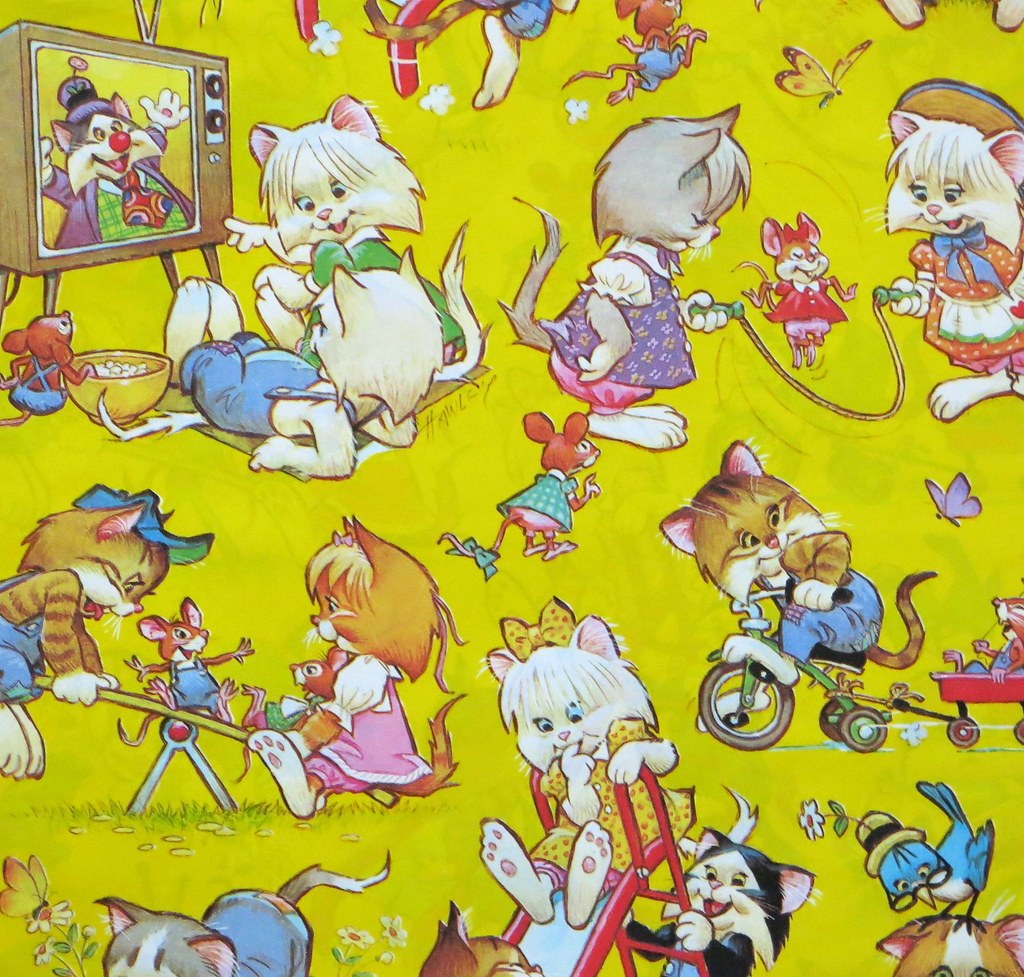 Vintage American Greetings Gift Wrap Pete Hawley Cats Flickr