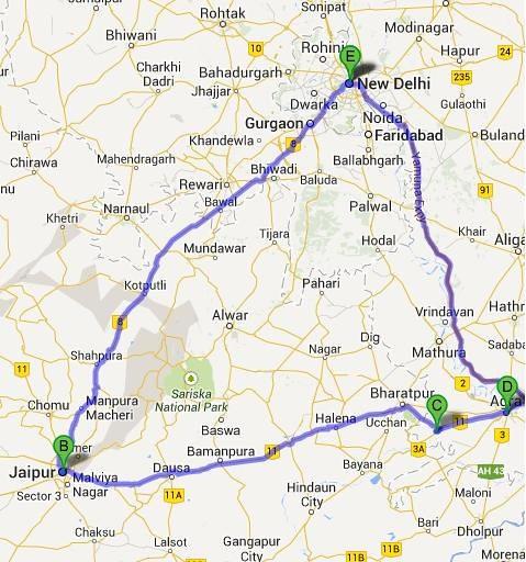 Delhi Agra Jaipur Triangle Undated Map of this popular Flickr