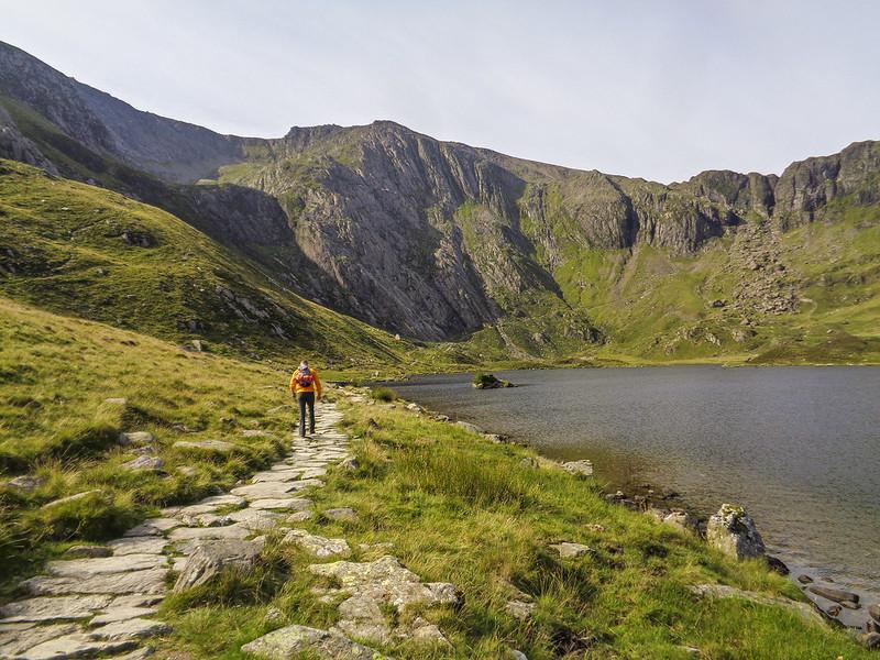 Walking by Llyn Idwal, with Idwal Slabs ahead