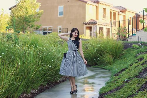 751919b3127 ... Unique Vintage 1950s Style Black   White Stripe Hamilton Swing Dress  Southern California Belle