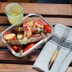 Tomato, chipolata and new potato lunch(box) with mustardy vinaigrette