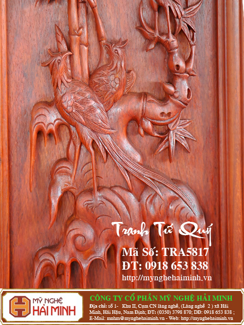 TRA5817g  Tranh Tu Quy  do go mynghehaiminh