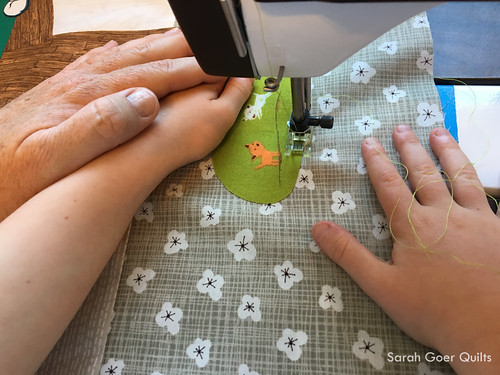 Kids Quilt Round Robin KQRR sewing with mom