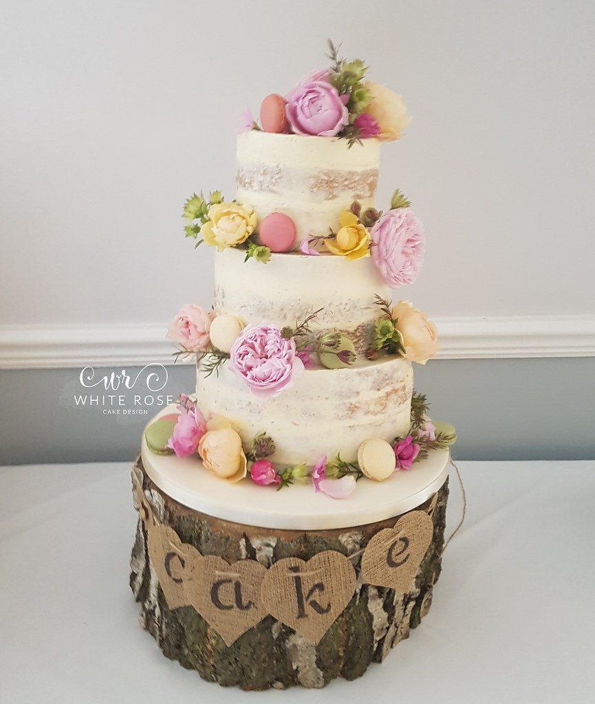 Floral Semi-Naked Wedding Cake with Fresh Flowers in Brigh… | Flickr
