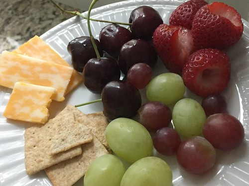 fruit, crackers, and cheese