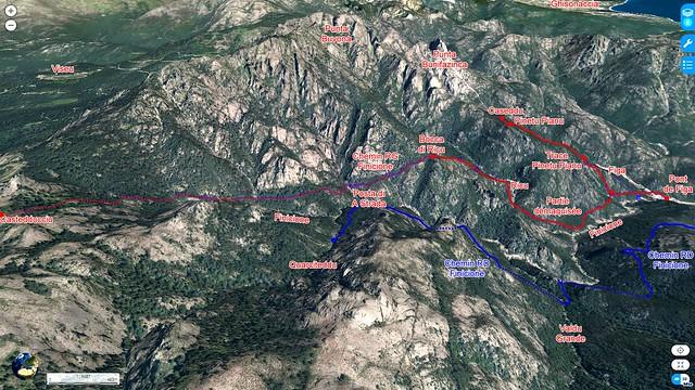 Photo 3D du ruisseau du Finicione avec les différents lieux et parcours en rives droite et gauche