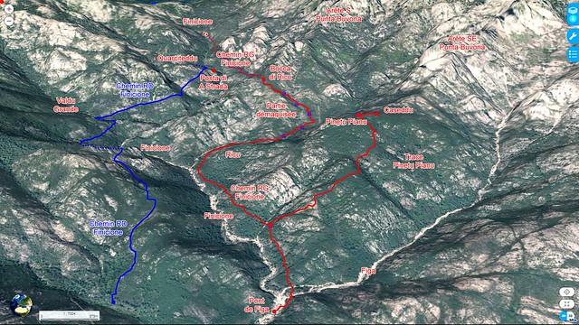 Photo 3D du ruisseau du Finicione en longitudinal entre le pont de Figa et le pied du versant Castedducciu