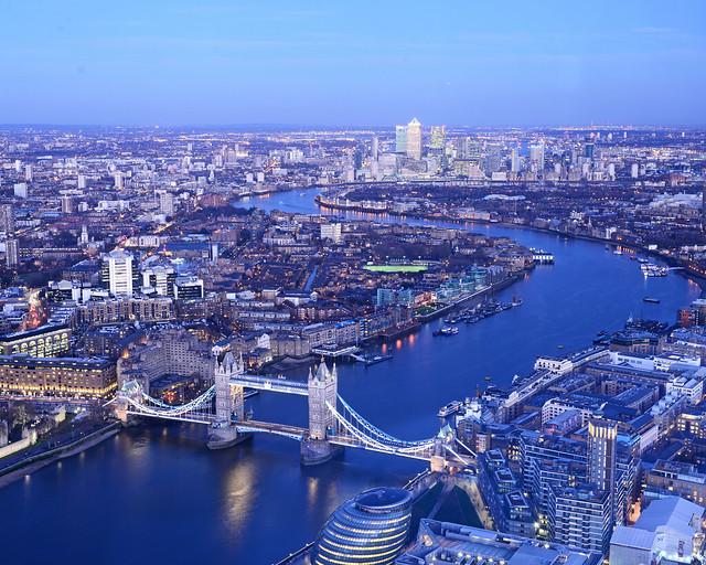 Londres visto desde las alturas en el mirador The Shard