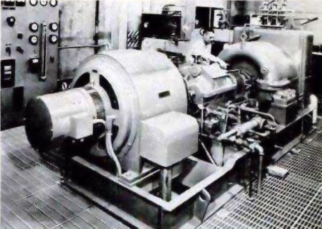 Heat from the atomic breeder reactor made the steam that spun the turbine and generator shown above.