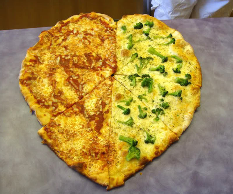 Mack's custom made heart pizza :)