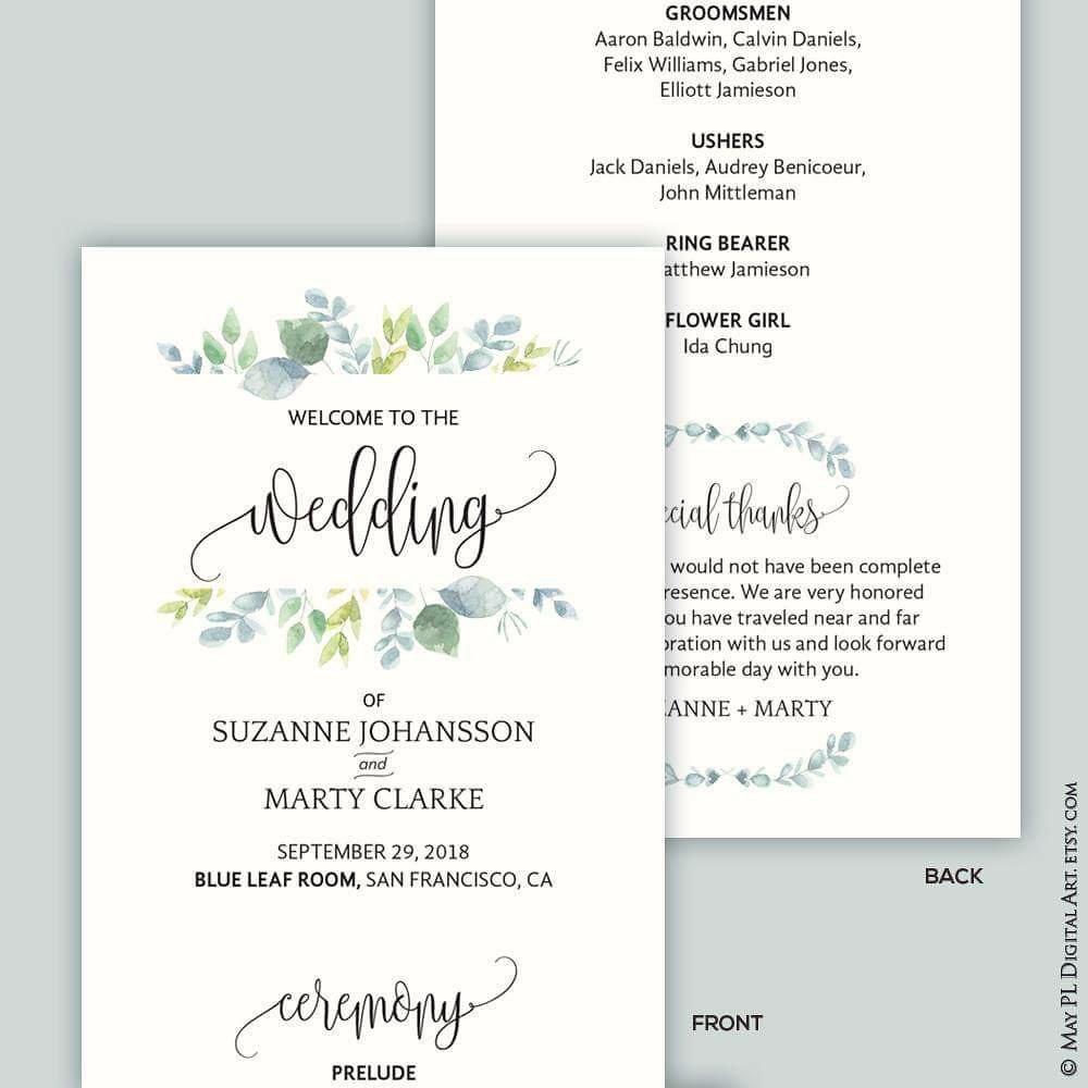 wedding program that compliments my eucalyptus watercolour flickr