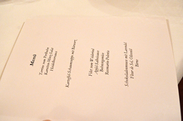 Menu at Waldhotel Fehrenbach, Germany