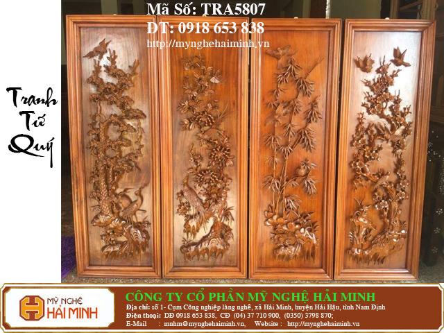 TRA5807a  Tranh Tu Quy Mai Truc Cuc Tung  do go mynghehaiminh