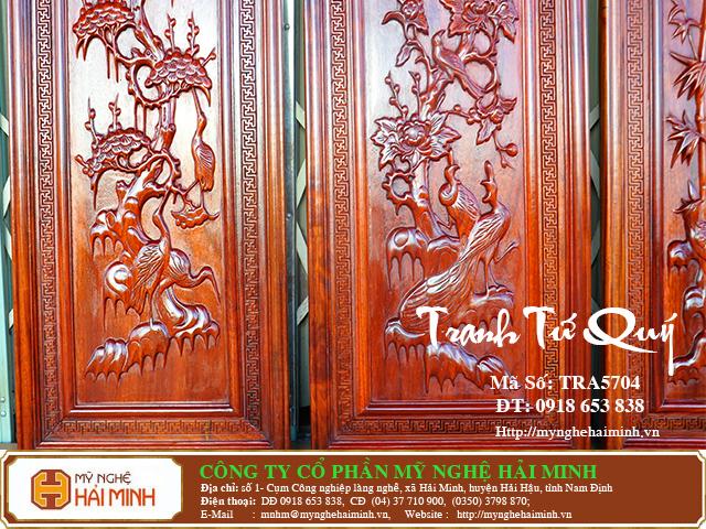 TRA5704e Tranh Tu Quy Mai Truc Cuc Tung  do go mynghehaiminh