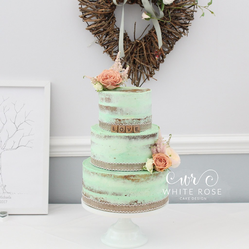 Mint Green Three Tier Semi-Naked Wedding Cake with Peach F… | Flickr