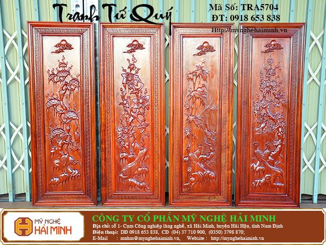 TRA5704a Tranh Tu Quy Mai Truc Cuc Tung  do go mynghehaiminh