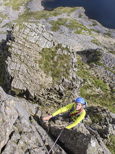 scrambling on Cyfrwy Arete - it had to go in the book!