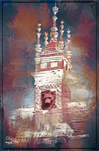 Image of Alcazar Hotel Tower's clay red lion face