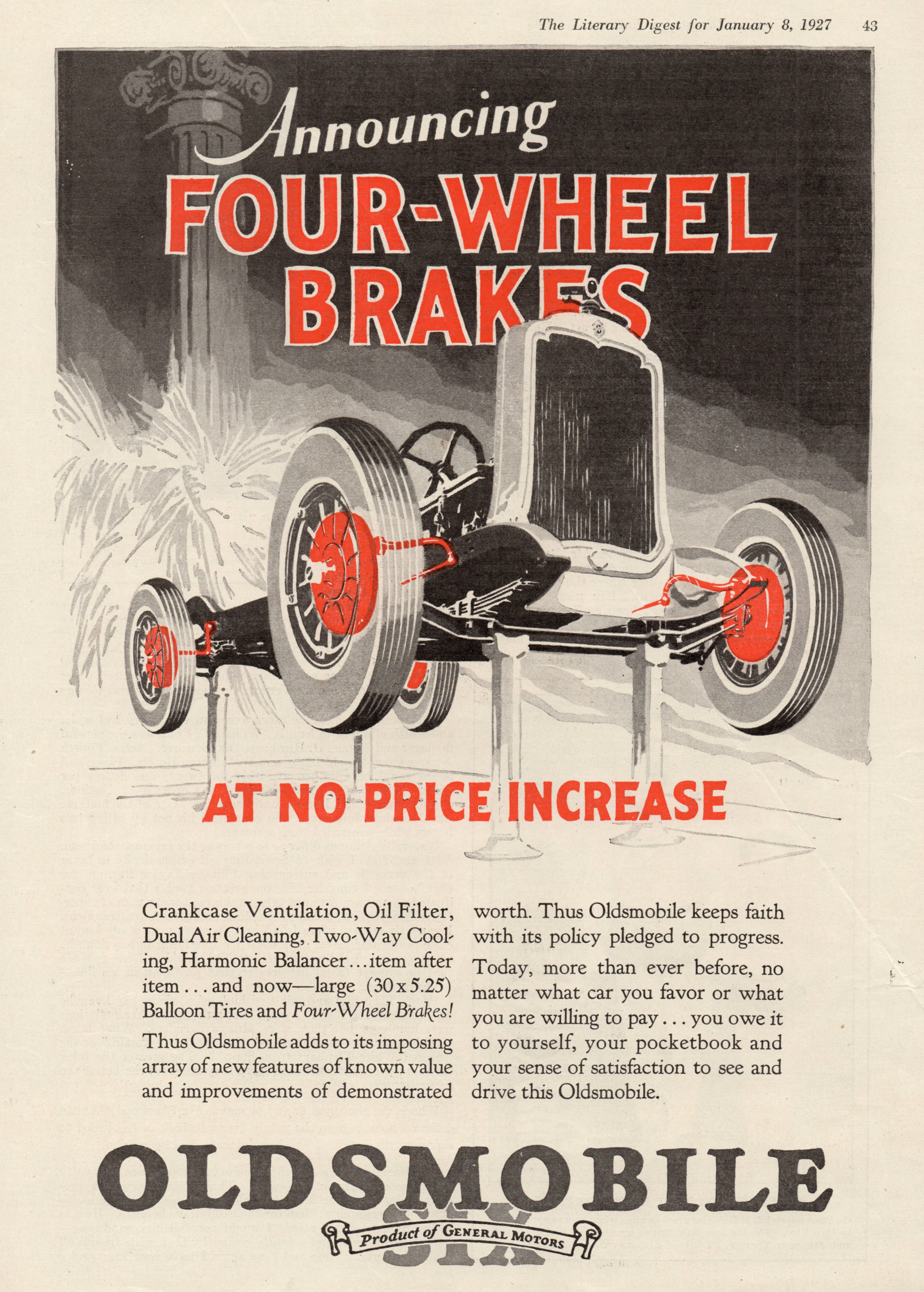 1927 Oldsmobile - published in The Literary Digest - January 8, 1927