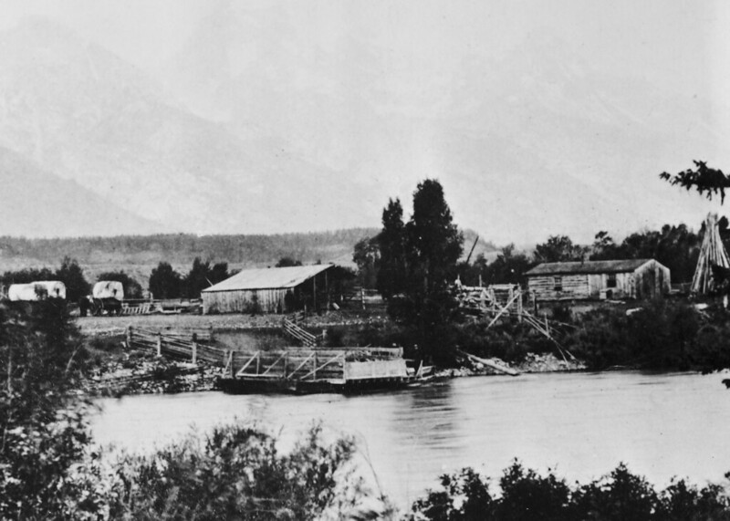 An early photo of Menor's Ferry in Jackson Hole, Wyoming, from the days before the river was bridged.