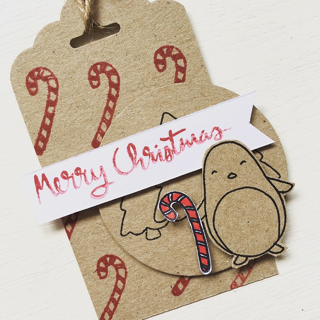 StickerKitten Penguins and Presents Christmas stamps launch - candy cane cute penguin tag