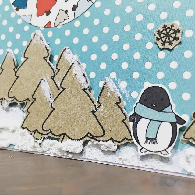StickerKitten Penguins and Presents Christmas stamps - cute snowy trees