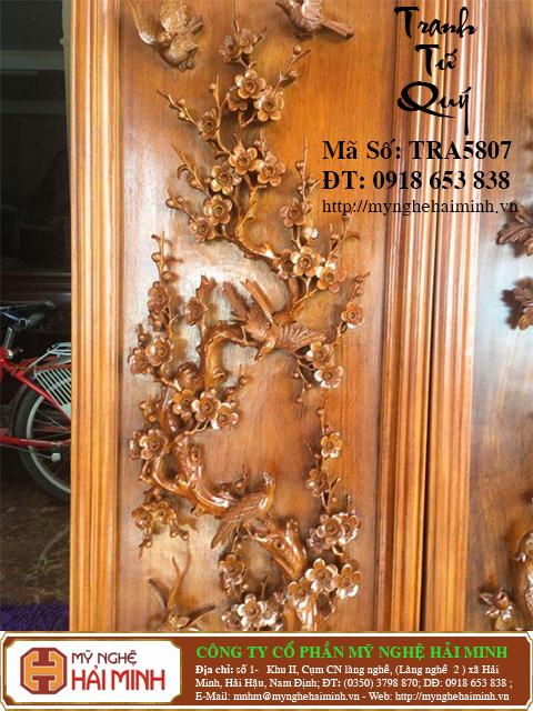 TRA5807b  Tranh Tu Quy Mai Truc Cuc Tung  do go mynghehaiminh