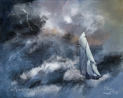 Painted image of a sailboat on a rough sea