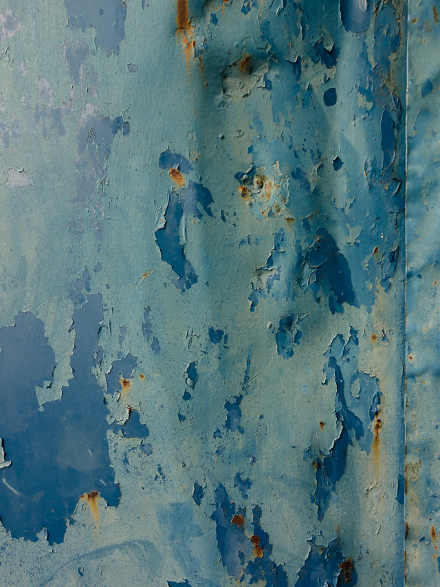 peeling blue surface