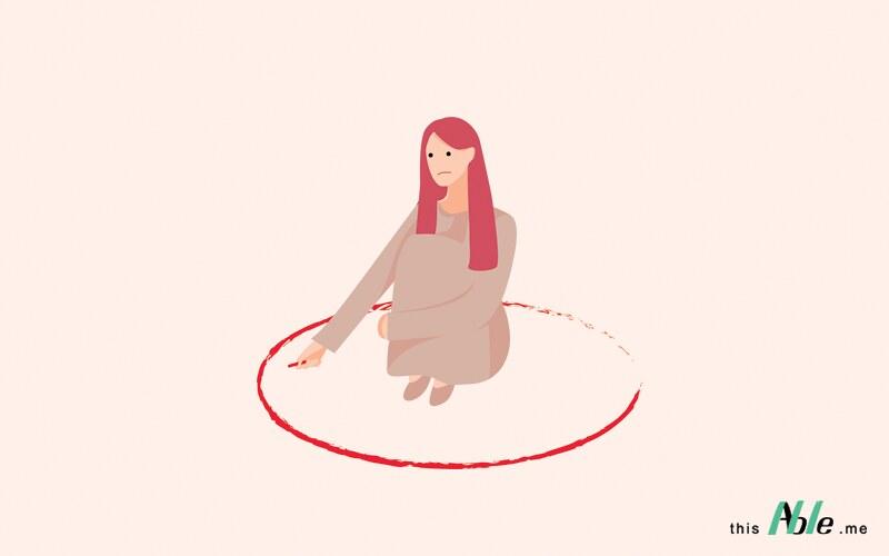 ผู้หญิงซึ่งเป็นผู้ป่วยจิตเภทนั่งในวงกลมสีแดงที่ตัวเองเป็นคนสร้างขึ้นมา