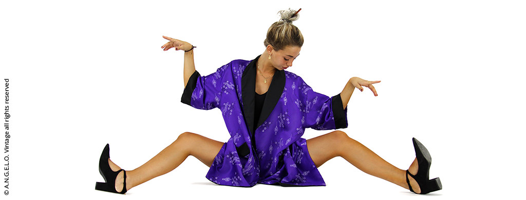 Kimono vintage viola fiori