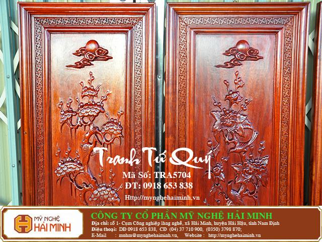 TRA5704d Tranh Tu Quy Mai Truc Cuc Tung  do go mynghehaiminh