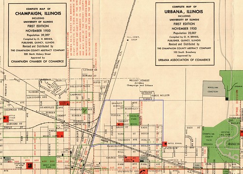 Map of Champaign-Urbana, 1950 | by The Urbana Free Library Digital Collections