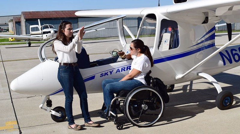 Purdue instructor talks flight details with Able Flight student Melissa Allensworth prior to take-off.