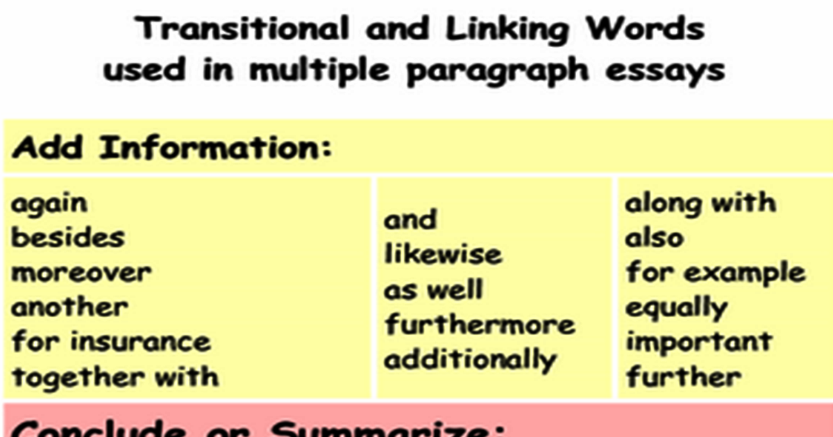 Transitional & Linking Words Used in Multiple Paragraph Essays 5
