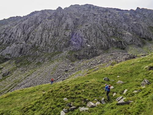 Approaching the Glyder Fach cliffs