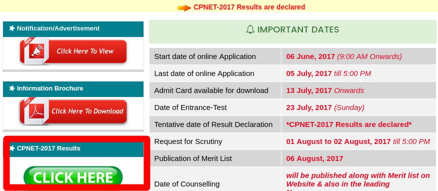 CPNET Result 2017 Announced   Check Online Here