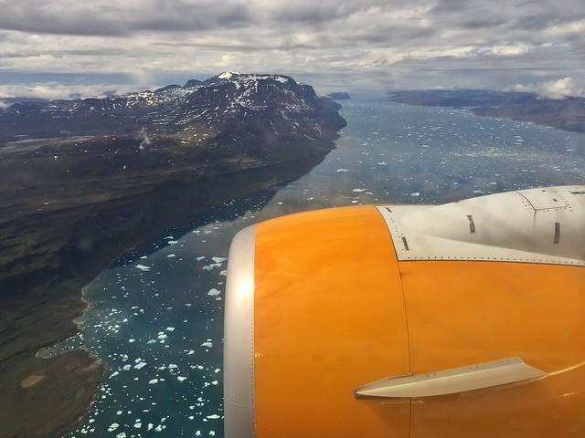 Minutos antes de aterrizar en Narsarsuaq (sur de Groenlandia)