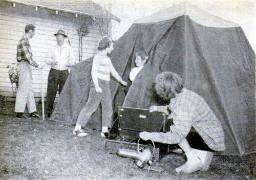 Erect tent in the back yard and check equipment before setting out on a camping trip—especially if it is your first one.