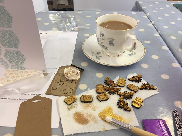 StickerKitten Bee Garden workshop at the Mulberry Bush - always need to have a cuppa