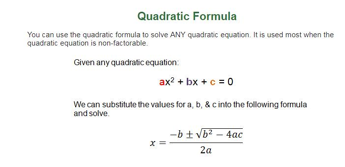 SAT Math formulas quadratic equation