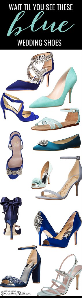 f69cee2930d 24 Best Something Blue Wedding Shoes  Low Heel