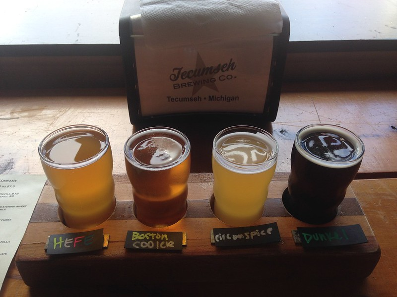 four-beer flight: Hefe, Boston Cooler, Circumspice, and Dunkel