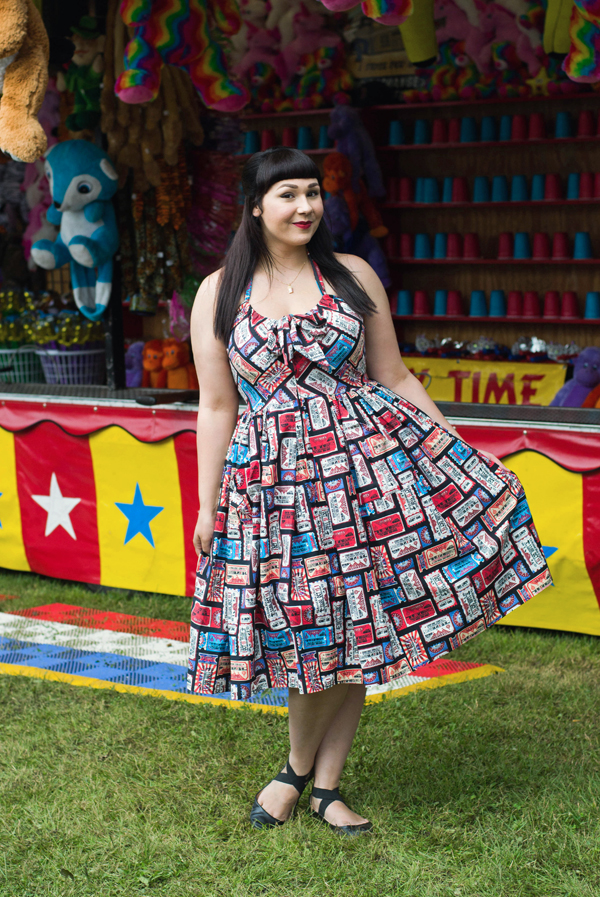 unique vintage circus print dress